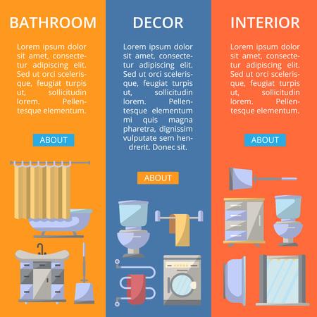 residential homes: Bathroom interior decor flyers set. Home renovation design, modern apartment decoration banners.