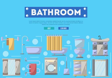 residential homes: Bathroom furniture renovation poster with washing machine, shower cabin, toilet, table, bathtub, towel dryer, washbasin elements. Illustration