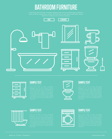 residential homes: Bathroom furniture poster with washing machine, shower cabin, toilet, bathtub, towel dryer, washbasin elements linear style.