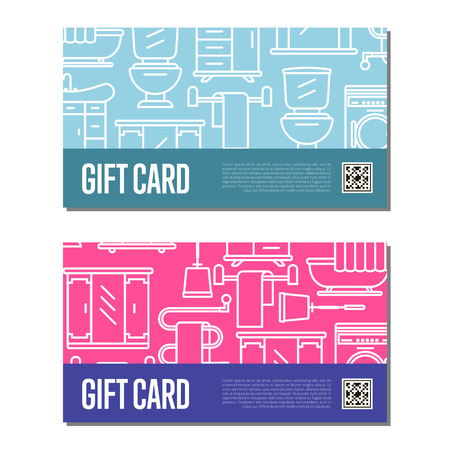 residential homes: Gift card for bathroom furniture decor. Home interior design certificate, modern apartment decoration discount voucher.