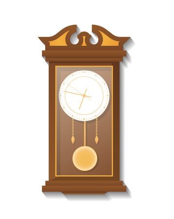 Antique wooden pendulum clock icon. An Analog chronometer isolated vector illustration in flat style.