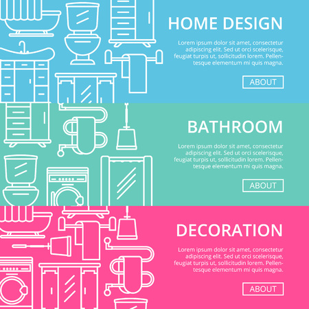 residential homes: Bathroom decoration poster set in linear style decoration banner.