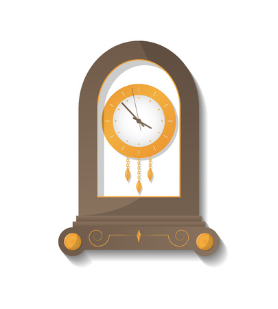 Antique wooden clock icon. Analog chronometer isolated vector illustration in flat style.