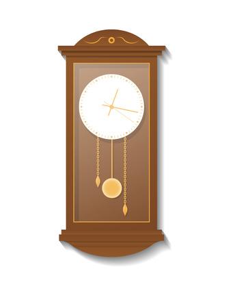 Retro wooden pendulum clock icon. Analog clock isolated illustration in flat style.