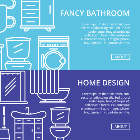 residential homes: Bathroom decoration poster set in linear style banner.