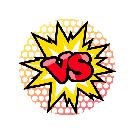 Versus fight emblem in cartoon style on a white background. Illustration