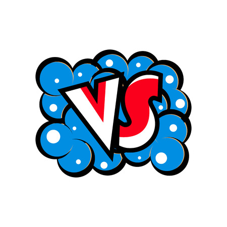 Versus letters logo in cartoon style on a white background.