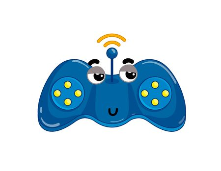 Funny wireless gamepad isolated cartoon character. Modern appliance with emotional face, home electronic device comic mascot vector illustration. Illustration