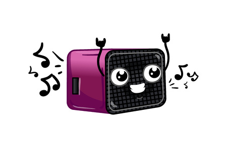 receiver: Funny digital radio receiver isolated cartoon character. Household appliance with emotional face, home electronic device comic mascot vector illustration. Illustration