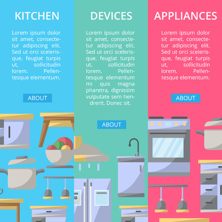 Kitchen devices and appliances. Illustration