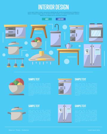 Kitchen interior design poster.