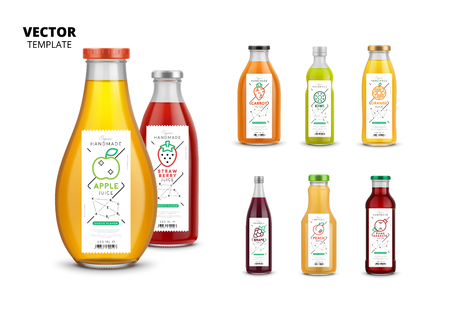 Fresh juice realistic glass bottles with trendy linear style labels. Illustration