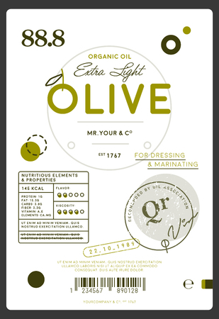 Premium quality extra virgin olive oil label. Healthy traditional product, organic vegetarian nutrition vector illustration.