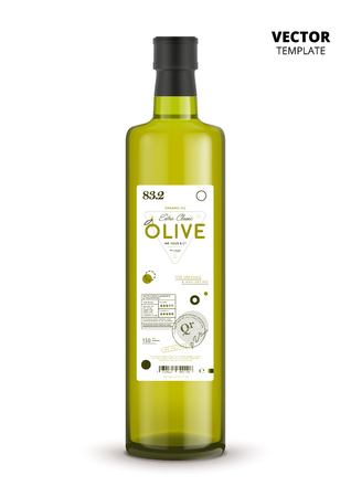 Premium quality extra virgin olive oil realistic glass bottle with label.