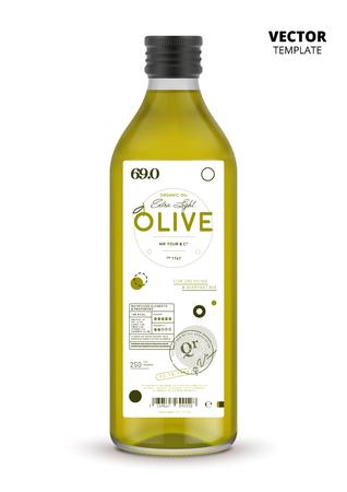 bouteille d & # 39 ; alcool en verre blanc olive réaliste avec l & # 39 ; étiquette . réaliste illustration vectorielle saine nutrition saine .