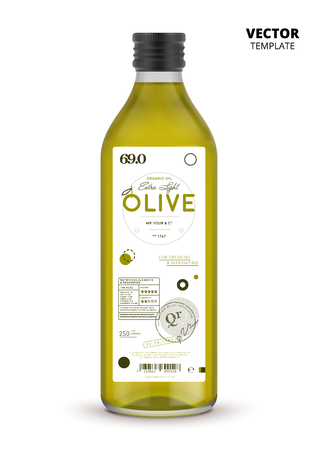 Realistic extra virgin olive oil glass bottle with label. Traditional healthy product, organic vegan nutrition vector illustration.