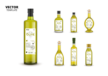 Natural extra virgin olive oil realistic glass bottles with labels. Traditional healthy product, organic vegan nutrition vector illustration.