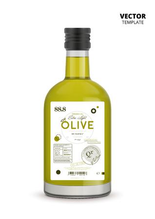 Botella de vidrio realista de aceite de oliva virgen extra premium con etiqueta Foto de archivo - 88154951