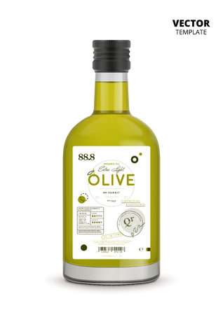 Premium extra virgin olive oil realistic glass bottle with label Stok Fotoğraf - 88154951