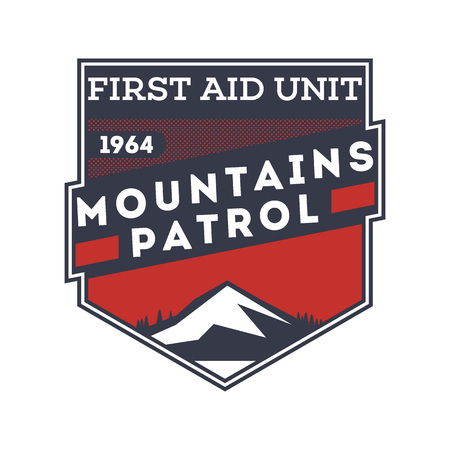 Mountains patrol, first aid unit label 向量圖像