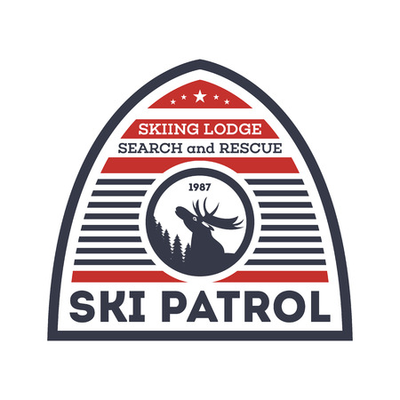 Ski patrol isolated label. Search and rescue badge, adventure outdoor emblem, expedition help vintage vector illustration Illustration