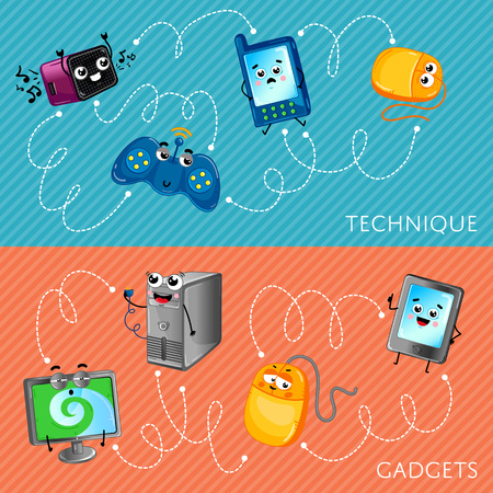 radio unit: Funny computer gadgets banner set