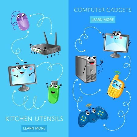 Funny computer gadgets banner set