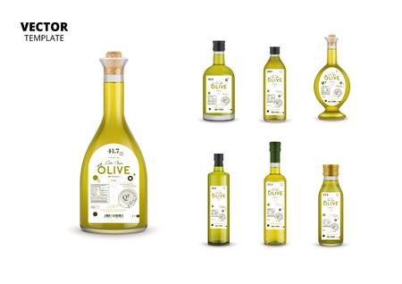 Botellas de vidrio de aceite de oliva con etiquetas Foto de archivo - 88174608