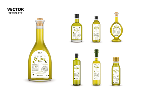 Olive oil glass bottles with labels