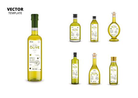 Realistic extra virgin olive oil glass bottles