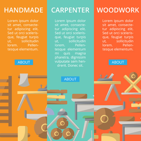 Carpenter woodwork posters in flat style
