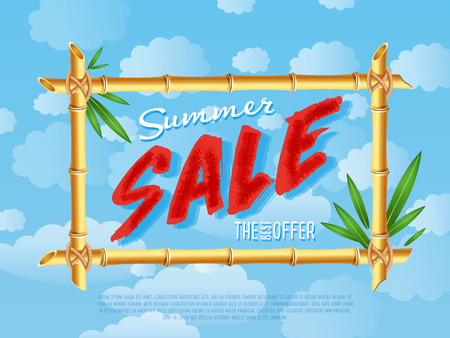 Summer sale poster in cartoon style. Illustration