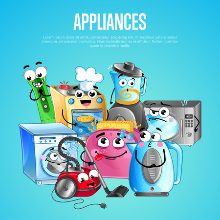 House appliances banner in cartoon style