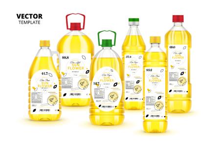 Extra virgin sunflower oil plastic bottles set Illustration