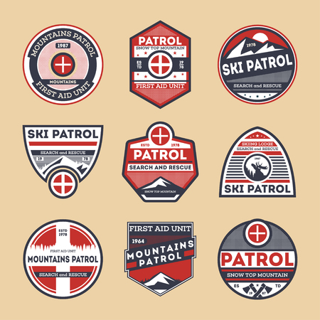 Sky patrol retro isolated label set. Search and rescue badge, winter mountains patrol symbol, first aid unit emblem vector illustration. Adventure outdoor, expedition mountain vintage sign collection