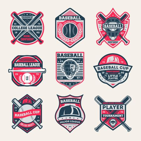 Honkbal kampioenschap vintage geïsoleerde label set. Honkbal competitie en toernooi symbool, sport collega samenleving pictogram, atletiekkamp logo. Honkbal cup badge collectie vector illustratie