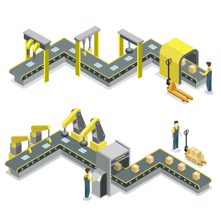 Production line isometric 3D concept. Иллюстрация