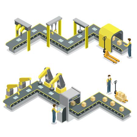 Production line isometric 3D concept. Illustration