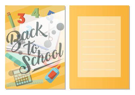학교 인사말 카드 집합을 다시. 학교 용품 세트, 전단지의 교육 템플릿.