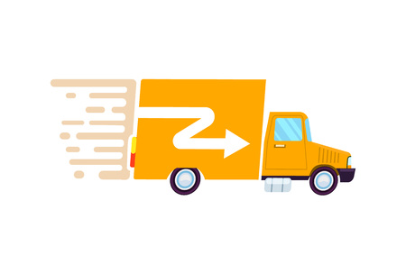 Goods fast delivery freight truck icon. Commercial shipping, transportation company badge with cargo truck, relocation service.