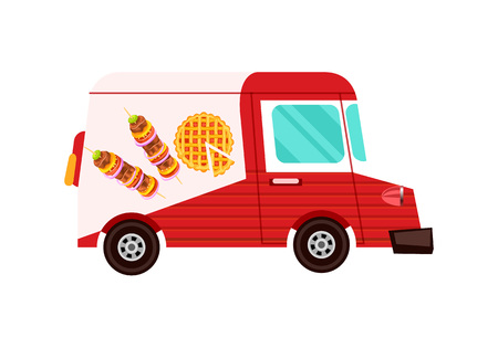 Fast food delivery truck icon. Order food on home, product shipping advertising vector illustration. Restaurant food express delivery service label with commercial van. Stock Vector - 90506291