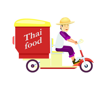 Thai fast food delivery icon with courier man on scooter. Online order food on home, commercial shipping. Restaurant food express delivery service.