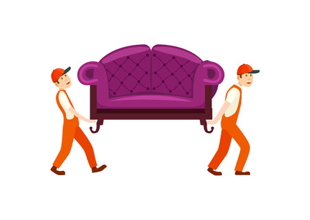 Furniture delivery service icon with workers carry sofa. Home delivery shipping service, furniture transportation company, moving service vector illustration.