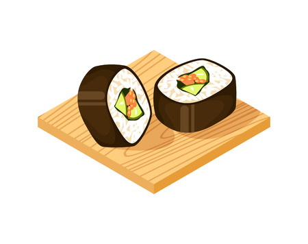 Sushi roll on wooden plate on white background, vector illustration. Asian traditional seafood element.