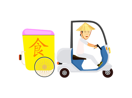 Asian fast food delivery icon with courier man on scooter. Online order food on home, commercial shipping. Restaurant food express delivery service.