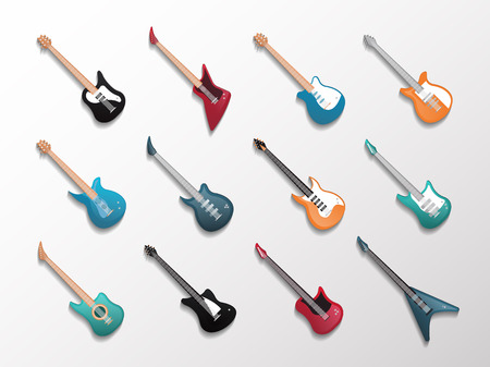 Modern electronic, classic acoustic and bass guitars icon set in flat style. Illustration