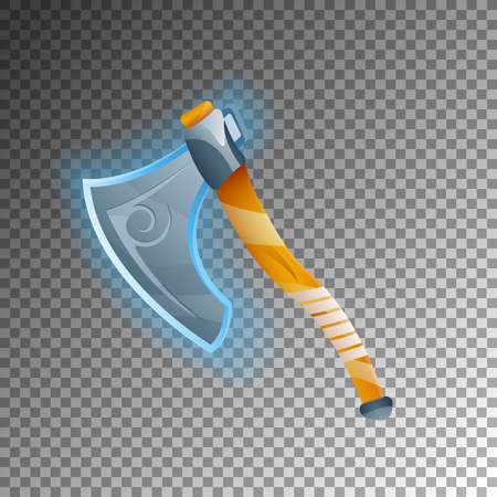 Fantasy warrior ax icon. Shiny medieval weapon for computer game design. Fight decoration, fantasy battle on transparent background. Illustration