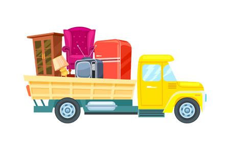 Verplaatsing vrachtvrachtwagen met meubelpictogram. Commerciële verzending, transportbedrijf badge met lading vrachtwagen, relocation service vectorillustratie. Stock Illustratie
