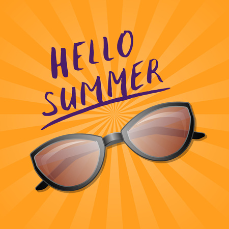 Hello summer trendy poster with sunglasses. Female elegant eyeglasses, fashion accessory vector illustration isolated on striped background. Summer beach vacation concept in flat style. Illustration