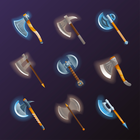 Fantasy medieval axes vector set. Collection of decoration weapon for computer game design. Magic and epic tomahawk, two blade battle ax, halberd and hatchet vector illustration. Ancient viking arms. Illustration
